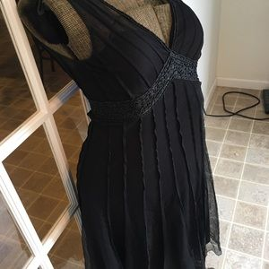 White House Black Market beaded dress LBD size 8